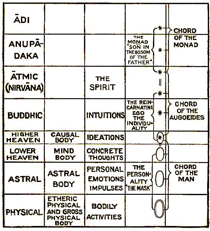 Theosophical Society - Chart on the constitution of man, from C. Jinarajadasa, First Principles of Theosophy, describing the levels of human consciousness and the corresponding planes of nature