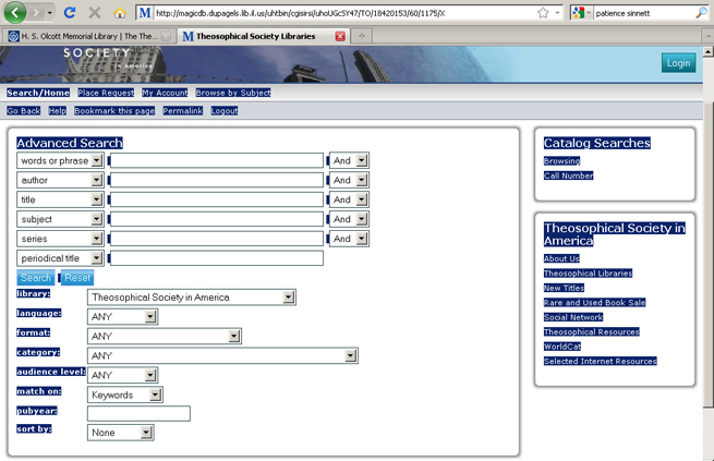 using the online library catalog requesting item theosophical