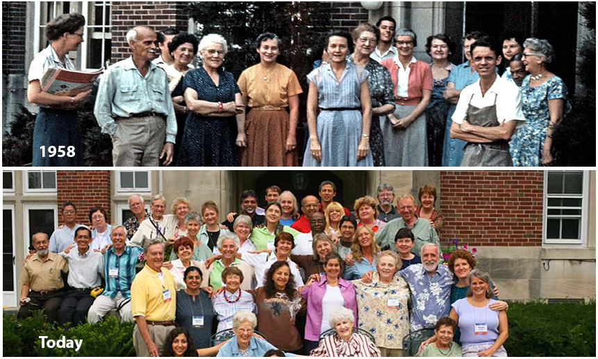 Theosophical Society - Community and Employees.  1958 and present day.  Your donation helps keep our community growing for decades to come and to provide seekers with spiritual and philosophical resources.